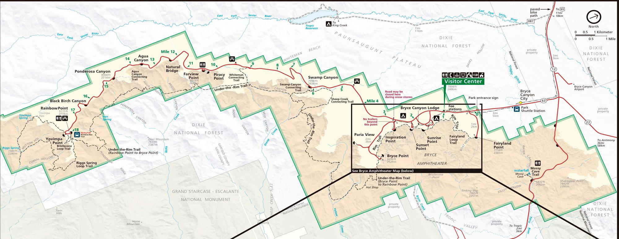 Mapa de Bryce Canyon