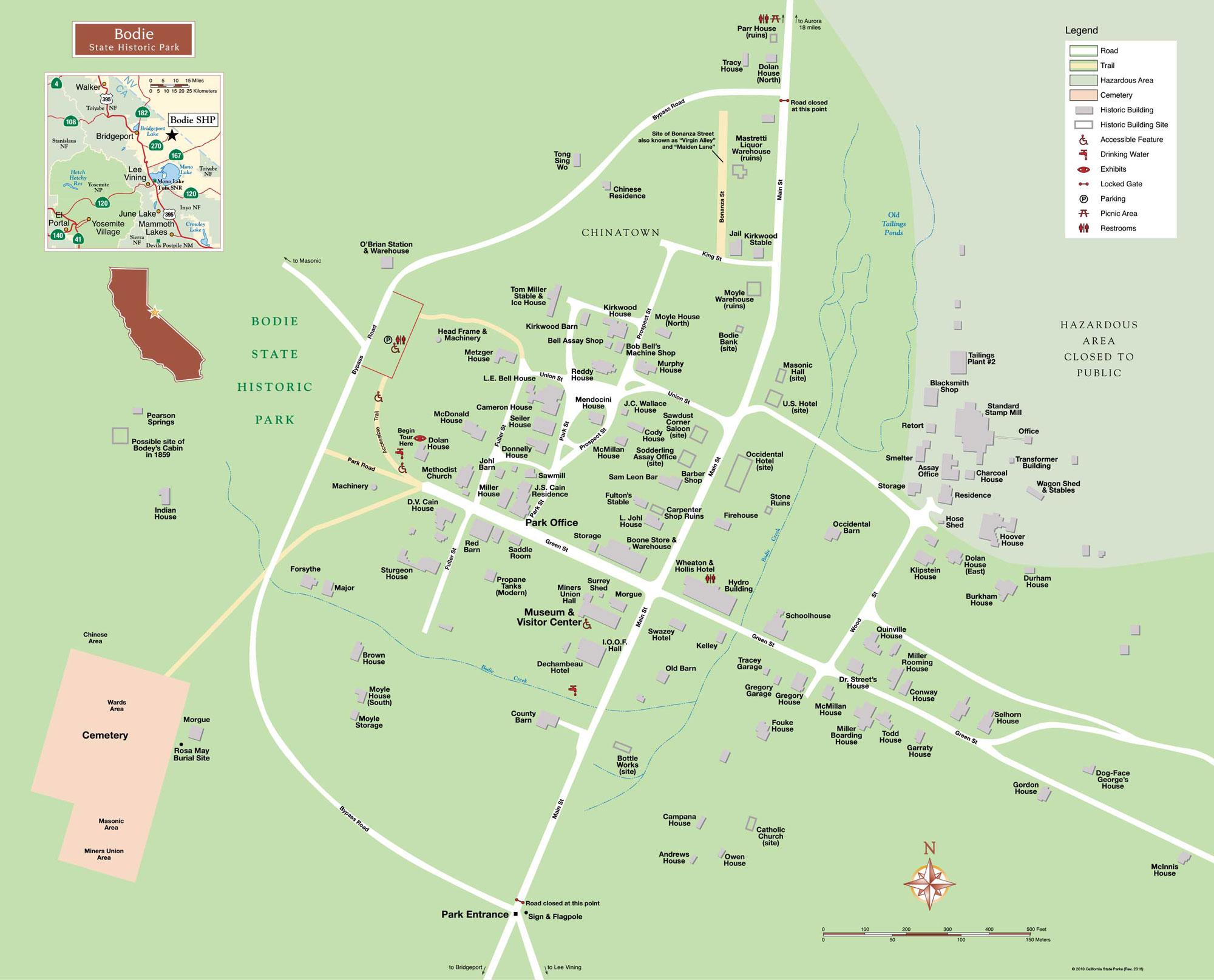 Mapa-de-Bodie-State-Park